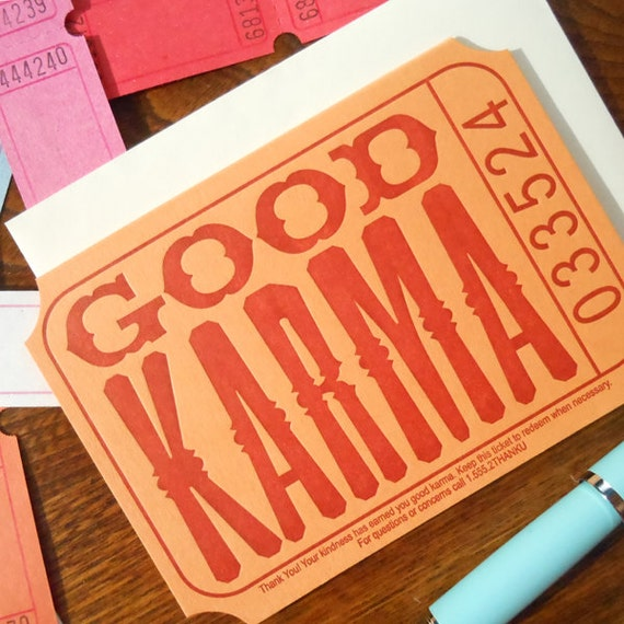 letterpress good karma ticket thank you note pack/6 orange rust raffle carnival ticket greeting card