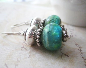 Lampwork Earrings, Glass Beads, Sterling Silver, Bali Bead, Sterling Spacers, Fine Silver, Turquoise Green, candies64