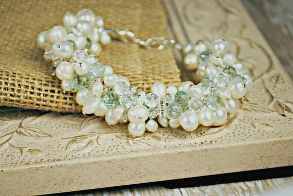 Pearl Wedding Bracelet, Freshwater Pearl Cluster Bridal Bracelet, Beach Wedding Jewelry, Something Blue Jewelry, Crystal Wedding Jewelry