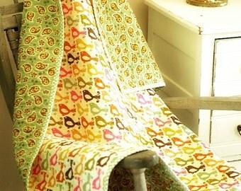 Wholecloth Baby Quilt - Crib Quilt - Nursery Bedding - Folk Birds & Paisley Design - 100% Cotton