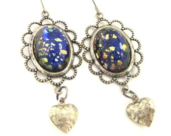 Galaxy Hearts ... Vintage   Harlequin Blue Vintage Glass  Victorian  Silver Heart Earrings