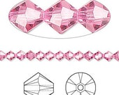 Swarovski Crystal beads 6MM ROSE  (30) 5301 bicone