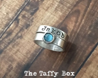 Stamped Birthstone Name Stacking Ring Set - Sterling Silver - Customized