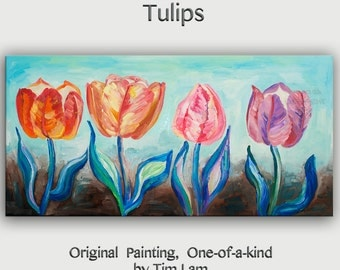 Original abstract flower art Multi color tulip Large Oil painting on gallery wrap canvas Ready to hang by tim Lam 48x24