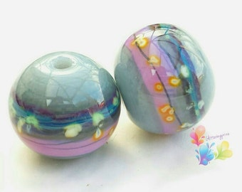 Glass Lampwork Beads French Fancy Gris