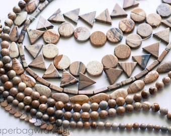 Free Shipping Destash - 8 Strand Lot Beads- Picture Jasper Natural Gemstones