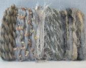 50 Shades of Gray Fiber Scraps Art Yarn Bundle 1331