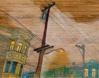 "20th Street, 5x7"" Print Mounted on Wood"