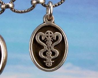 PETITE MEDAL - VOODOO - Damaballah Veve Charm Pendant in Sterling Silver, Bronze, 14K Gold