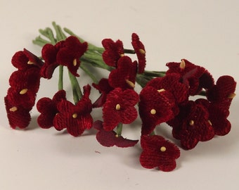 Velvet Forget Me Not Flowers Vintage Dark Red Weddings Corsages Dolls Fascinators Crowns 2 Bunches 24 Individual Stems