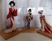 Set of Vintage Geisha Mini Dolls Japanese Oriental Decor