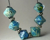 Handmade Lampwork Glass Beads by Catalinaglass SRA Water Ripple crystals- set of 6
