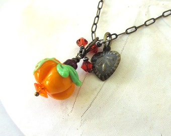 Halloween Necklace, Lampwork Pumpkin Necklace, Cute Halloween Pumpkin, Autumn Jewelry, Fall Pumpkin Spice Necklace, Thanksgiving Necklace