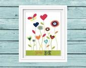 Spread Love Print. Let love grow. Whimsical Flowers. Colorful Nursery art. Kitchen art. Inspirational Print. Motivational Quote. digital art