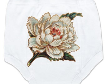 Potty Pants, Peony Flower, Asian Pants, Girl Bottoms, Training Pants, Underwear, Undies, Trainer Pants, Vintage Graphic Potty Pants, 2T, 3T