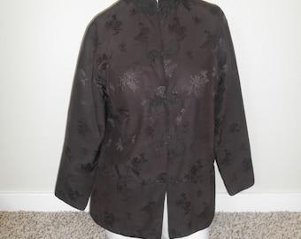 Silk Brown Jacket, Brown Floral Jacket
