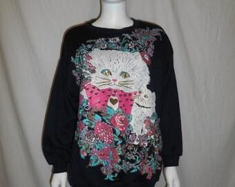 SALE Vintage  cat kitten kitty  sweater sweatshirt