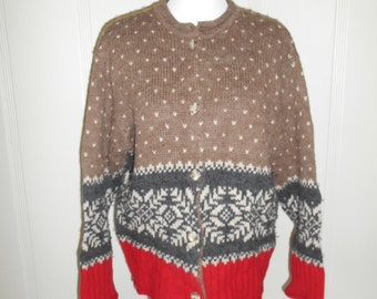 Vintage Wool Alpaca winter  knit  sweater   cardigan button up