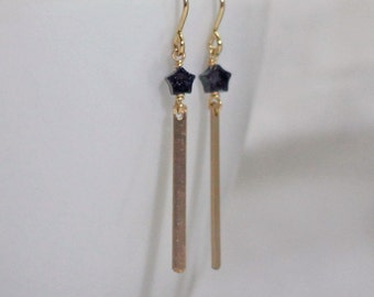 Tiny Blue Star Earrings / Gold Fill Thin Bar Earrings / Christmas Earrings / Night Star Earrings / Goldstone Sparkle