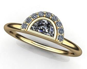 zoe ring - NEO moissanite half moon ring