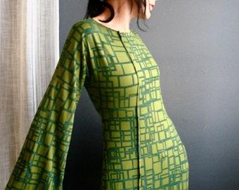 Optical Hopscotch - iheartfink Handmade Hand Printed Womens Green Geometric Art Print Long Bell Sleeves Jersey Dress