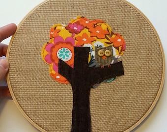 Embroidery Hoop Art, Hoop Art, Owls in Tree Applique,Textile Artwork, Owl Art, Embroidery Art