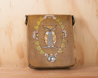Small Leather Crossbody Bag - Handmade Purse in the Emerson Owl pattern with woodgrain and owl - Yellow, green and antique brown