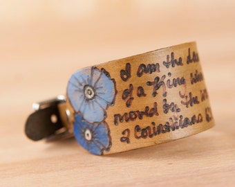 Leather Cuff -  Personalized Smokey pattern with Poppies in blue and antique brown - Custom Cuff Bracelet with Inscription