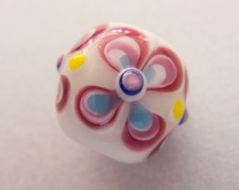 Vintage Italy 1940s-50s Candisa Large White Opaque Floral Raised Eye Lampwork Glass Studio Bead - 18mmx19mm