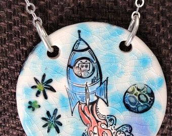 Rocket with Robot  Ceramic Necklace in Blue Crackle with Chain