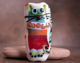 Lampwork Art Bead Focal Bead Whimsical Cat Divine Spark Designs SRA