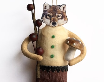 Wolf Holiday Tree Ornament - Handmade Spun Cotton Christmas Ornament
