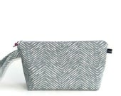 Wedge Bag, Sock Project Size Knitting Bag, Cameron zigzags in grey