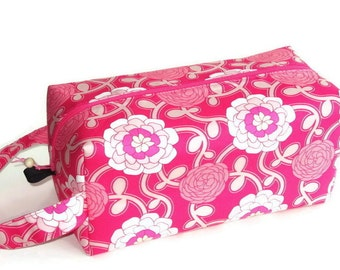 Bigger Boxy Bag Knitting Project Bag - Poetica Pink Flowers