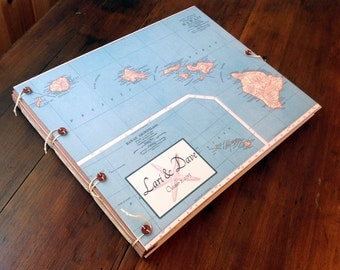 Hawaii Wedding Guest Book or Photo Album - Personalized with Names & Dates and Motif of your Choice - Maui, Kauai, Beach Wedding