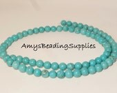 Magnesite (D) Round 6mm Round Beads, 15.5 Inch Strand,  Approx 65 beads