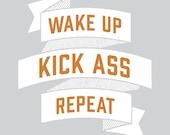 Ass Kicking Giclee Motivational Poster Wall Art, kick ass art, workout print, bathroom print, home decor, wall decor, wall art, teen room