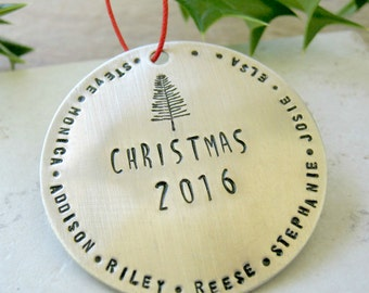 LARGE Personalized Silver Christmas Ornament, Large Family Ornament, Big Family Ornament, 57 character max, Christmas 2017