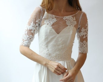 Beaded lace wedding top separate - Sample Sale Half-Sleeve