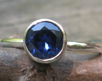 20% OFF TODAY - Sapphire Ring ... September Birthstone Ring ... 6mm sapphire sterling silver stacking ring gemstone ring