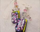 Cottage Chic earrings, Fused dichroic earrings, Dichroic glass, Hana sakura, modern design jewelry, glass fusion, unusual earrings, Yellow
