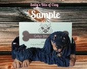 Black and Tan Long Hair Dachshund dog Business Card Holder / Iphone / smart phone / Cell phone OOAK sculpture by Sally's Bits of Clay