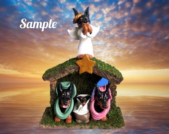ORDER EARLY! Doberman Pinscher dog Christmas Nativity Creche Manger Scene Hand Sculpted by Sally's Bits of Clay