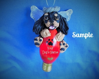 Cavalier King Charles Spaniel Angel Dog Christmas Holidays Light Bulb Ornament Sallys Bits of Clay PERSONALIZED FREE with dog's name