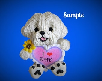 Bichon Frise dog Sculpture love DAD OOAK Clay art by Sally's Bits of Clay