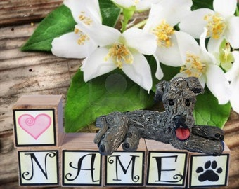 Grey Irish Wolfhound dog PERSONALIZED with your dog's name on blocks by Sally's Bits of Clay