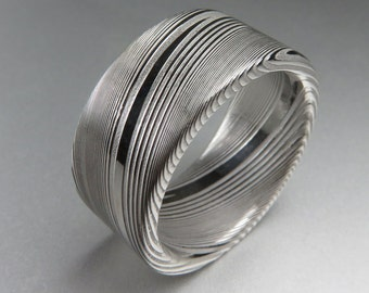 Men's Wedding Band Damascus Stainless Steel