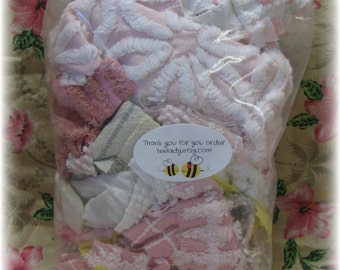 Vintage Chenille Bedspread Destash Scrap Bag Fabric Remnants Pinks Mauves Taupe