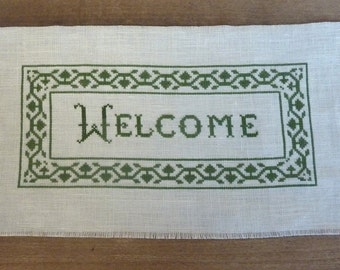 Vintage Cross Stitch Welcome Sampler