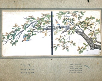 Early Summer Vintage Print Japanese Magazine Insert in 1925 Birds, Leaves and Tree Print
